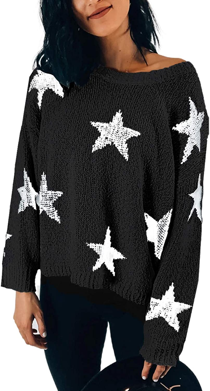Happy Sailed Womens Pullover Sweater Star Long Sleeve Round Neck Knitted Jumper Tops(S-XXL)