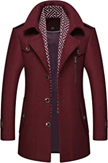 Chartou Men's Stylish Scarf Single Breasted Wool Walker Coat Thick Winter Jacket-6 Colors