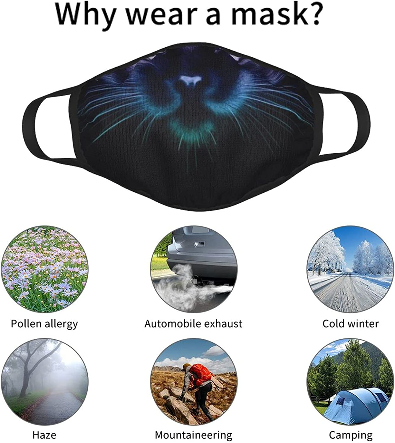 Balaclava Earmuffs Colorful Cat Face Face Mouth Cover Mask Reusable Windproof Scarf Towel Cover Headwrap