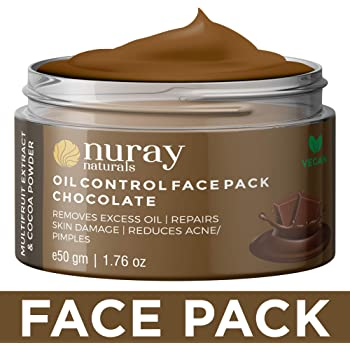 Nuray Naturals Vegan Anti Acne Chocolate Face Pack for Skin Glow, 50 g