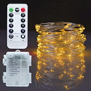 Twinkle Star Christmas Copper Fairy Lights Battery Operated, 33ft 100 LED Waterproof Silver Wire String Light, Remote 8 Modes Indoor Outdoor Xmas Tree Wedding Party Decorations, Warm White, 1 Pack