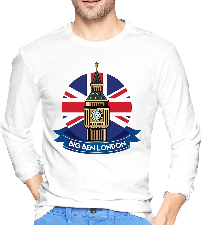 Big Ben London Crewneck Tops Ultra Soft Shirt Long-Sleeve T-Shirts for Men's