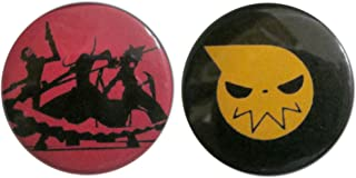 Baubles of Time Men's Soul Eater Pin Back Buttons 1.25 Inch Multicoloured