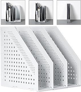 Deli マガジンファイル 収納ケース A4 ファイルボックス 折りたたみ式 3つの垂直コンパートメントを備えたオフィスの整理と保管のため オフィス収納 文具収納 事務用品 (グレー(折りたたみ可能), 3段)
