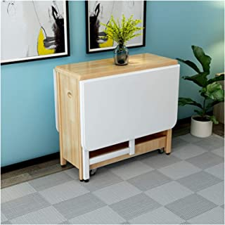 PULLEY Table de salle à manger pliante en pin naturel avec motif papillon - 1,3 m - Couleur : jaune