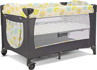 Bamny Lit Parapluie Lit de Voyage pour Bébé Lit Pliable et Transportable avec Moustiquaire Matelas à langer Ouverture Laté...