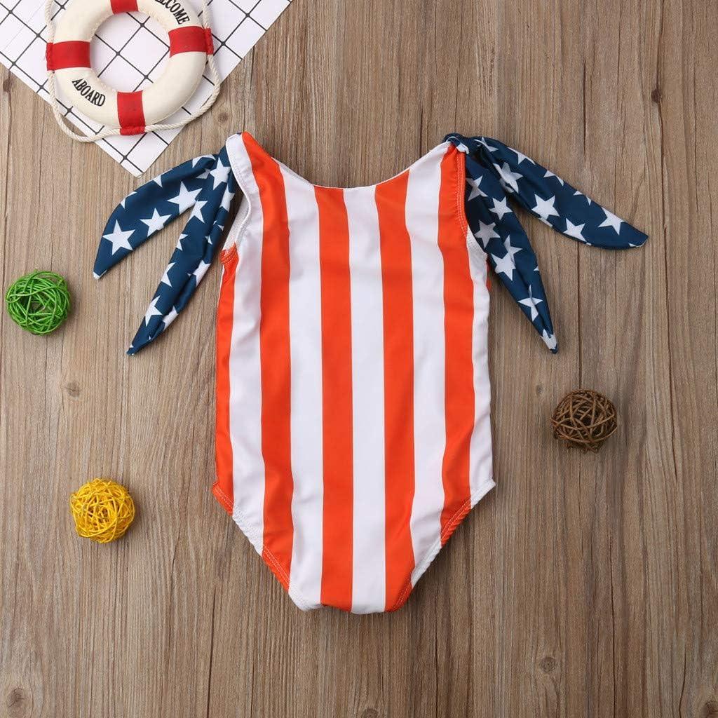 minjiSF Toddler Baby Girl 4th of July Star Striped Bikini Bathing Suit Beachwear Sets