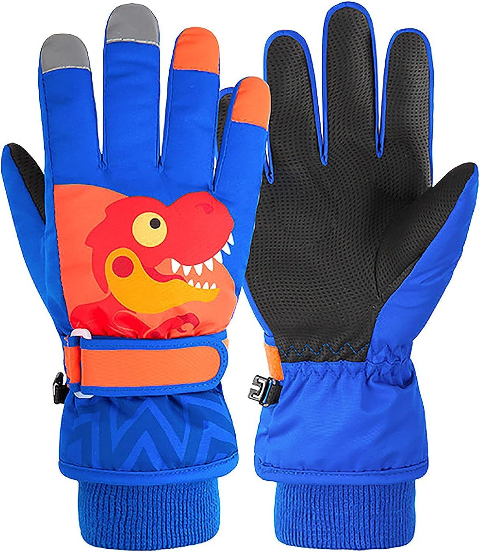 Okngr Kids Winter Snow Gloves Waterproof Ski Toddler Baby Mittens with Dinosaur for Cold Weather Children