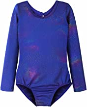Leotards for Girls Ballet Gymnastics Long Sleeve Sparkles Aqua Blue Pink Purple