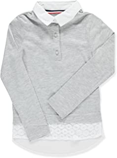 French Toast Girls' Long Sleeve Jersey Lace 2-Fer