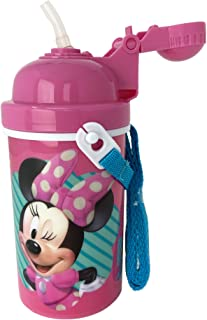 Minnie Mouse Water Bottle 12 oz Popup Lid & Shoulder Strap