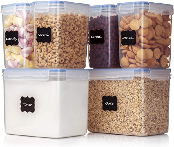 Vtopmart Airtight Food Storage Containers 6 Pieces Plastic PBA Free Kitchen Pantry Storage Containers For Sugar Flour And Baking Supplies Dishwasher Safe 24 Free Labels And 1 Marker