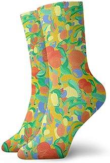 tyui7, Calcetines de compresión antideslizantes con diseño de naranjas y limones Calcetines deportivos acogedores de 30 cm para hombres, mujeres y niños