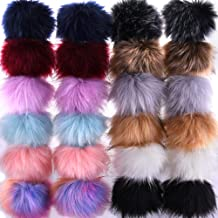SIQUK 24 Pieces Faux Fox Fur Pom Pom Balls DIY Faux Fox Fur Fluffy Pom Pom with Elastic Loop for Hats Keychains Scarves Gloves Bags Accessories(12 Bright Colors, 2 Pcs Each Color)