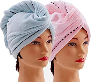 Microfiber Hair Towel Wrap 2 Pack Quick Magic Hair Dry Hat, Turban Twist Head Towel with Button, Quick Dry Super Absorbent for Long & Curly Hair, Anti-Frizz - (Blue & Pink)
