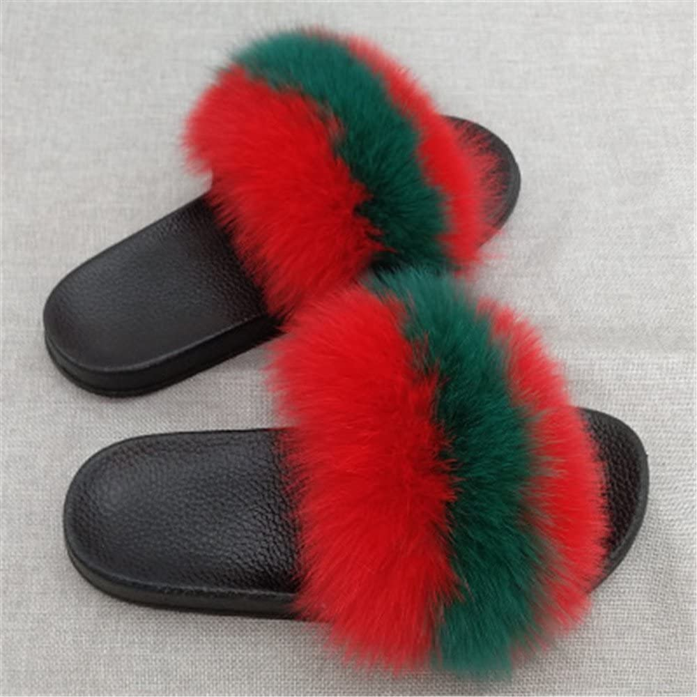 MH Bailment Women Fur Slippers Slides Indoor Outdoor Flat Soles Soft Slip On Sandals Summer Shoes