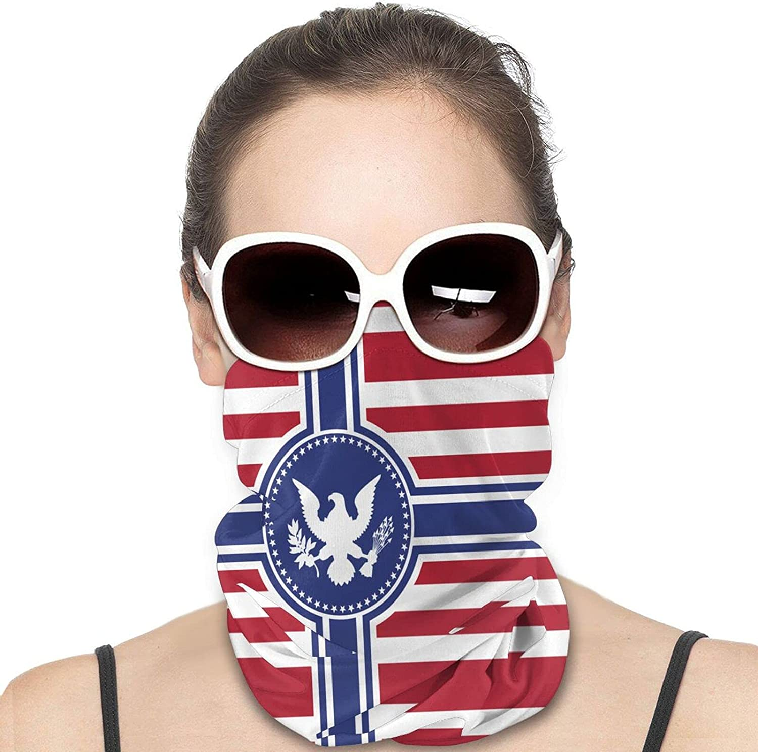 American Flag Round Neck Gaiter Bandnas Face Cover Uv Protection Prevent bask in Ice Scarf Headbands Perfect for Motorcycle Cycling Running Festival Raves Outdoors