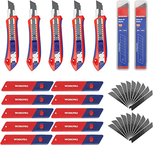 2021 WORKPRO 5-Pack 2021 Snap-off Knife with 20PC Razor online Sharp Blades and 18mm 100PC Replacement Blades outlet sale