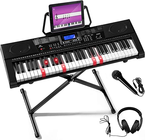 Mustar 61 Keys Keyboard Piano With Lighted Keys Electronic MIDI, Full Size Light Up Keyboards Piano, Touch Sensitive LCD Screen Piano Keyboard