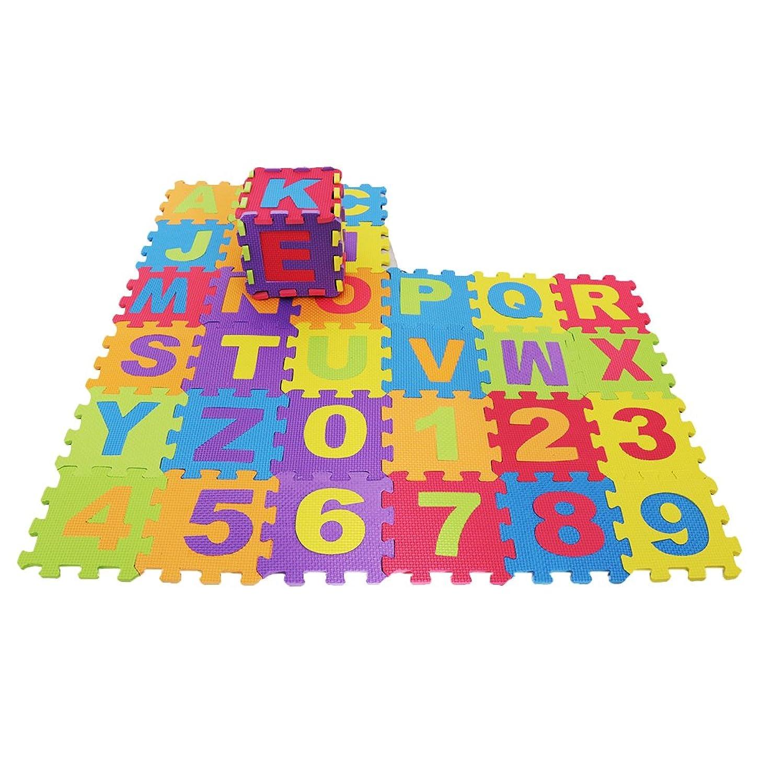 パステル囚人プログラム文字数字 発泡マット パズルジョイントマット パズル 子供 プレイマット 教育玩具 アルファベット 36本