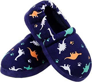 MIXIN Little Kids Boys Indoor House Slip-on Slippers Soft Warm Memory Foam