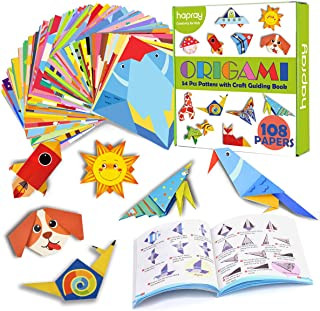 hapray Color Origami Paper for Kids, Origami Kit, 118 Sheets 6 Inch Double Sided Origami with 54 Projects, 55 Pages Guidin...