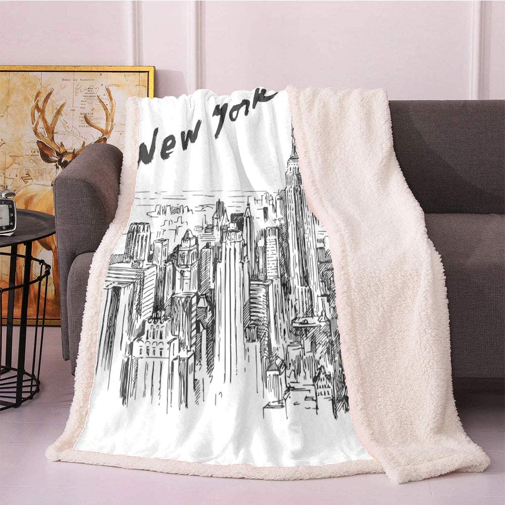 Cheap mail order sales New York Sherpa Fleece Blanket Drawn Vintage Animer and price revision Scenery Urban Hand