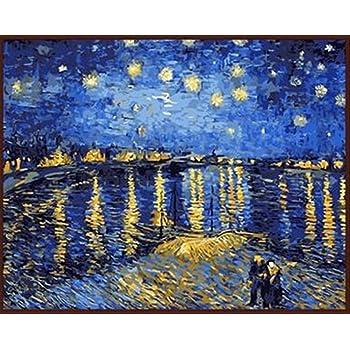 WONZOM 油絵 数字キットによる絵画 塗り絵 大人 手塗り DIY絵 デジタル油絵 40x50センチ ローヌ川の星月夜(フレーム付き)