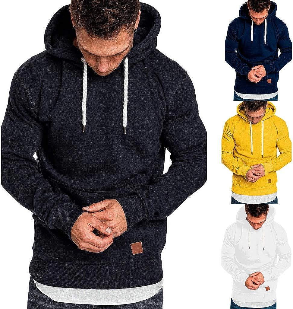 Mens Hoodies Pullover Hooded Athletic Hoodies Solid Color Raglan Sleeve Slim Fit Drawstring Sweatshirt Sport Coat Outwear