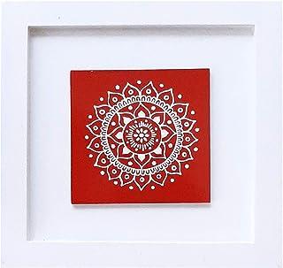 Himadri (Uttarakhand Government Undertaking) Aipan Hand Painted Tile Wall Art-Red (25cmx 25cmx 1.5cm)