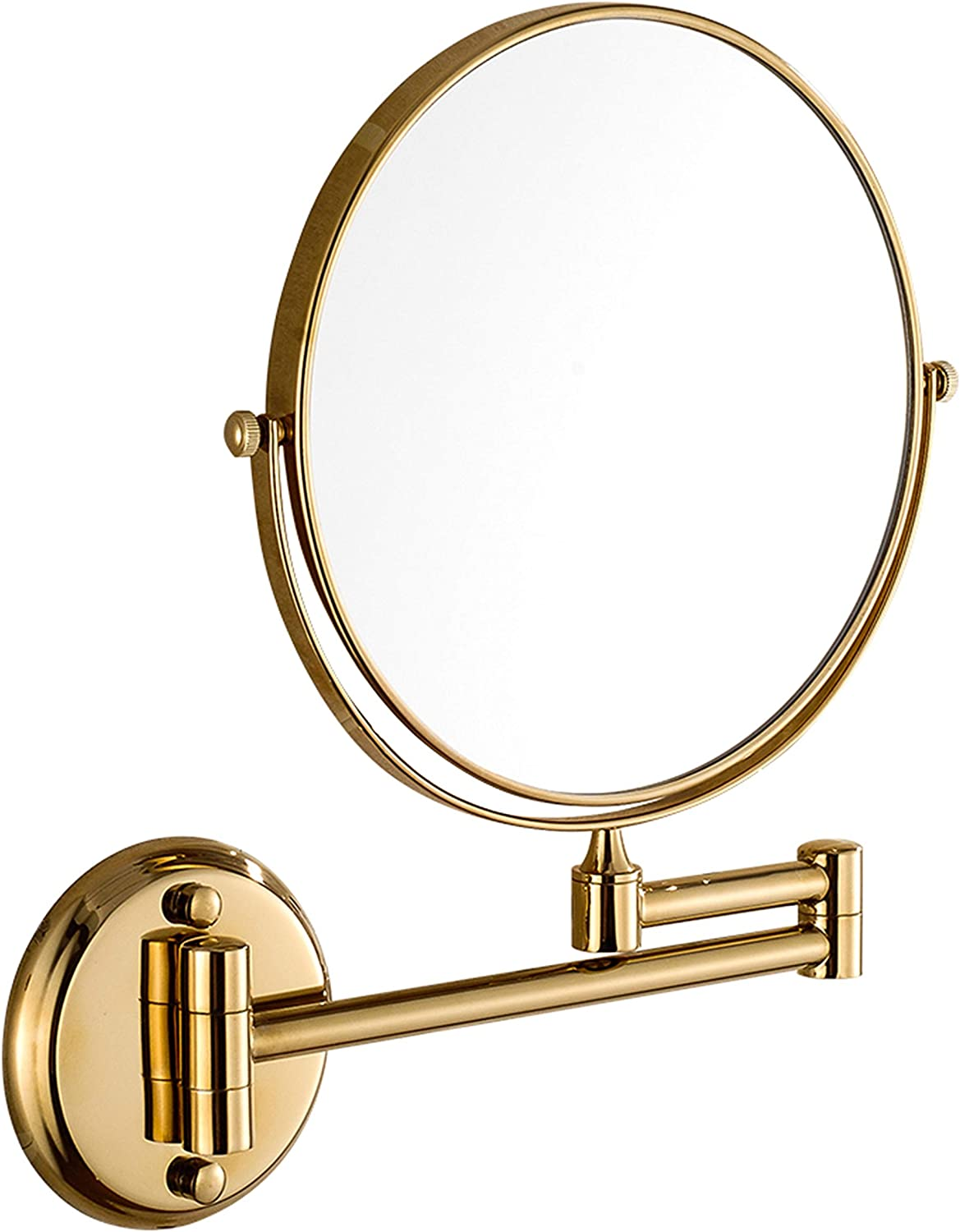 Beauty Mirror Wall Mount Bathroom Metal Makeup Mirror Fold Bathroom Telescopic Mirror Double Sided Amplification Dressing Round Mirror,gold,8inch