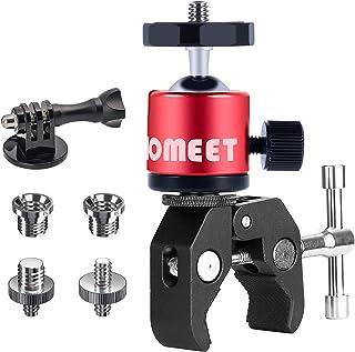 Homeet Super Morsetto Clamp con Teste Treppiedi Supporto Pinza Fotocamera Granchio Clip Rotazione a 360°con Filettature da...