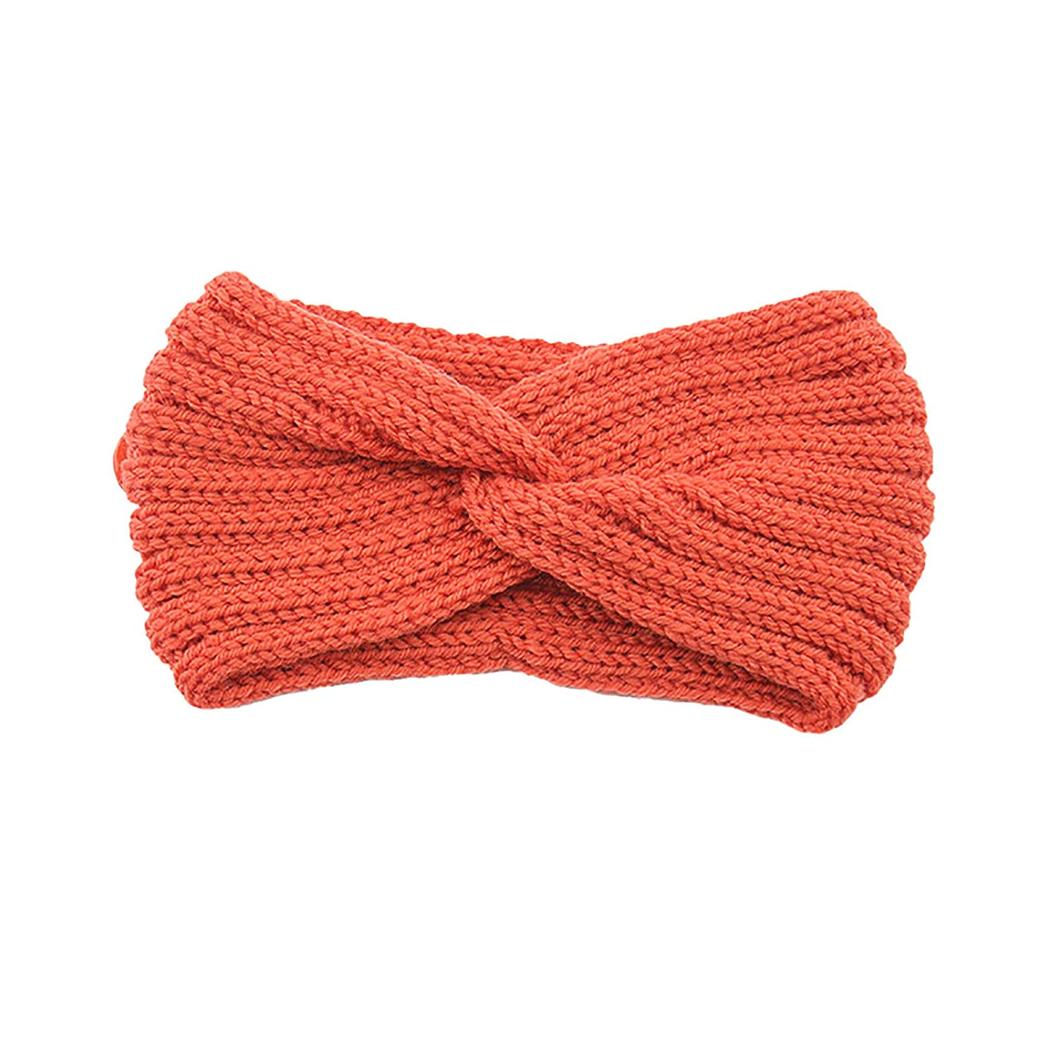 Thatso Winter Headbands for Women, Ear Warmer Headband with Buttons, Soft Stretchy Thick Cable Knitted Turban Hairband Gift (Orange,One Size)