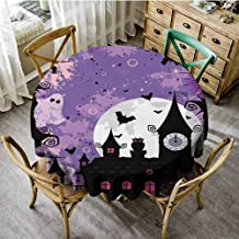 ScottDecor Vintage Halloween Printed Tablecloth Halloween Midnight Image with Bleak Background Ghosts Towers and Bats Waterproof Round Tablecloth Purple Black Diameter 70