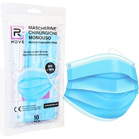 100 mascherine chirurgiche Dispositivo Medico di classe II R CERTIFICATE CE ogni mascherina è racchiusa in confezioni richiudibili da 10 mascherine Rmove