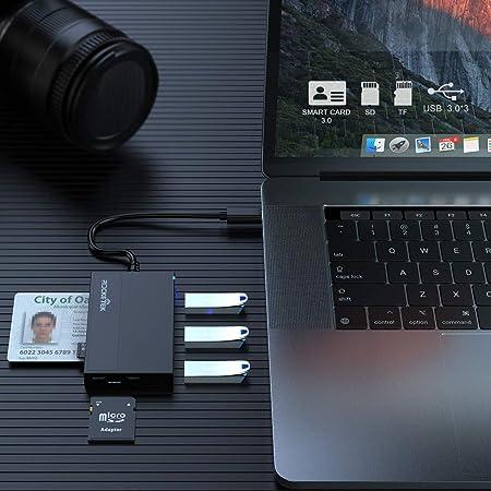Rocketek DNI Electrónico Lector - Lector de Tarjetas USB C SD/TF - con 3 USB 3.0 y admite Tarjetas Inteligentes y TFCards, Sdcard, Micro SD - ...