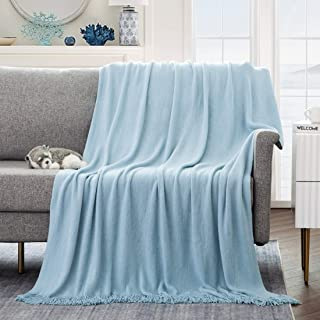"""Revdomfly Blue Throw Blanket Decorative Knitted Throw Blanket with Fringe for Couch Sofa Bed, Cozy & Lightweight, 51"""" x 79..."""
