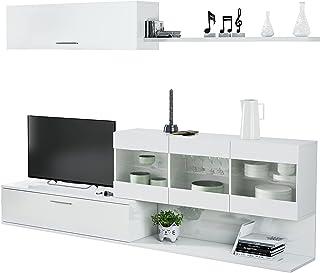 Salon TV Mueble de Salon Modulos de Comedor Modelo Aral Acabado en Blanco Brillo Medidas: 260 cm (Ancho)