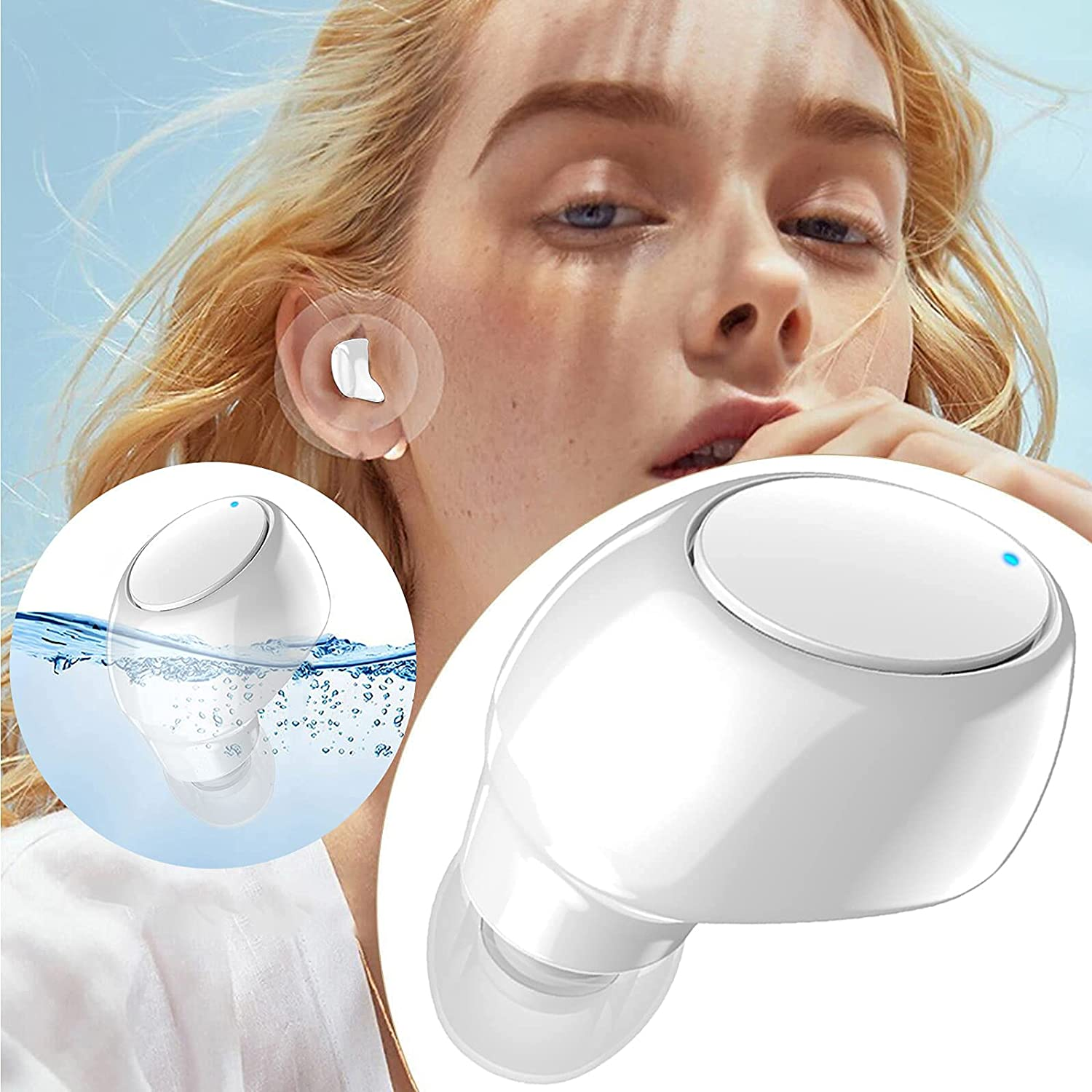 1 PC Bluetooth Headphones, Wireless BT Earphones, in-Ear Mini Sports Workout Headset, IPX5 Waterproof Protection, Long Playtime, HiFi Sound Qualit, Compatible with Various Devices (White)