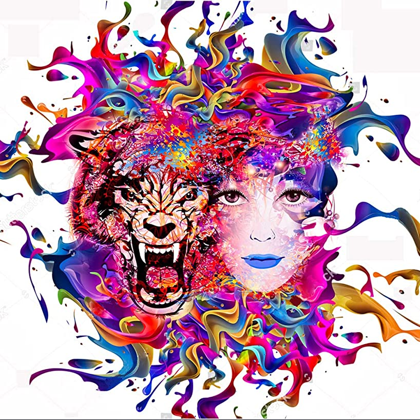 DIY Handwork Store 5D DIY Full Round Diamond Mosaic Paintings Women Tiger Crystal Animal Box Kits Embroidery Rhinestone Coloring by Numbers Sticker-[15.7