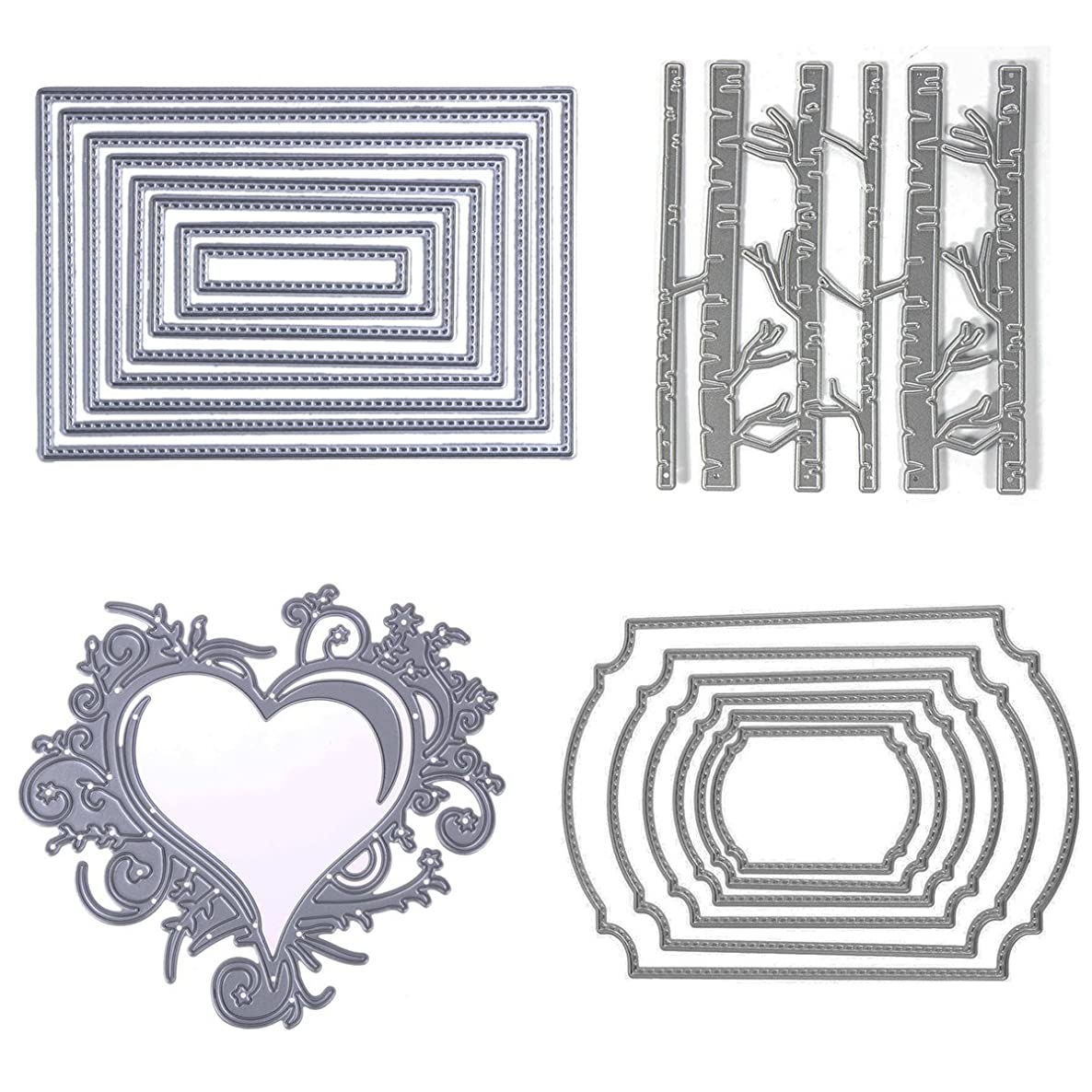 Cutting Dies Cut Scrapbooking for Card Making Nesting Stitched Branches Rectangle Love Heart Bamboo Wavy Square Metal Stencils for DIY Embossing Photo Album Decorative DIY Paper Cards 4set (Set 9)