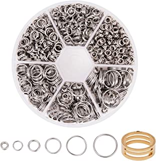 PH PandaHall 895 pcs 6 Sizes 304 Stainless Steel Split Rings, 4/5/6/8/10/12mm Jewelry Connectors O Ring with 1 pcs Jump Ri...