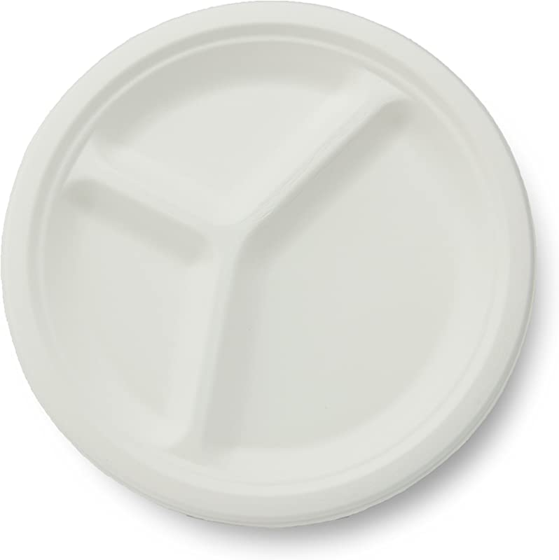 Stalkmarket 100 Compostable Sugar Cane Fiber 3 Compartment Plate 10 Inch 500 Count Case