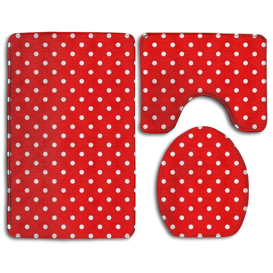 ペルセウスバッジ結婚する白の水玉模様の赤 ソフトコンフォートフランネルのバスルームマット、滑り止め吸収性便座カバーバスマットふたカバー、3個/セットカーペット敷物