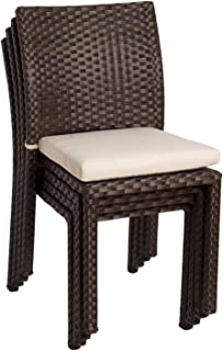 Atlantic Liberty Stackable Chairs (Set of 4) |Perfect for Indoors/outdoors| Best Dark Brown Wicker w/ white cushions included.