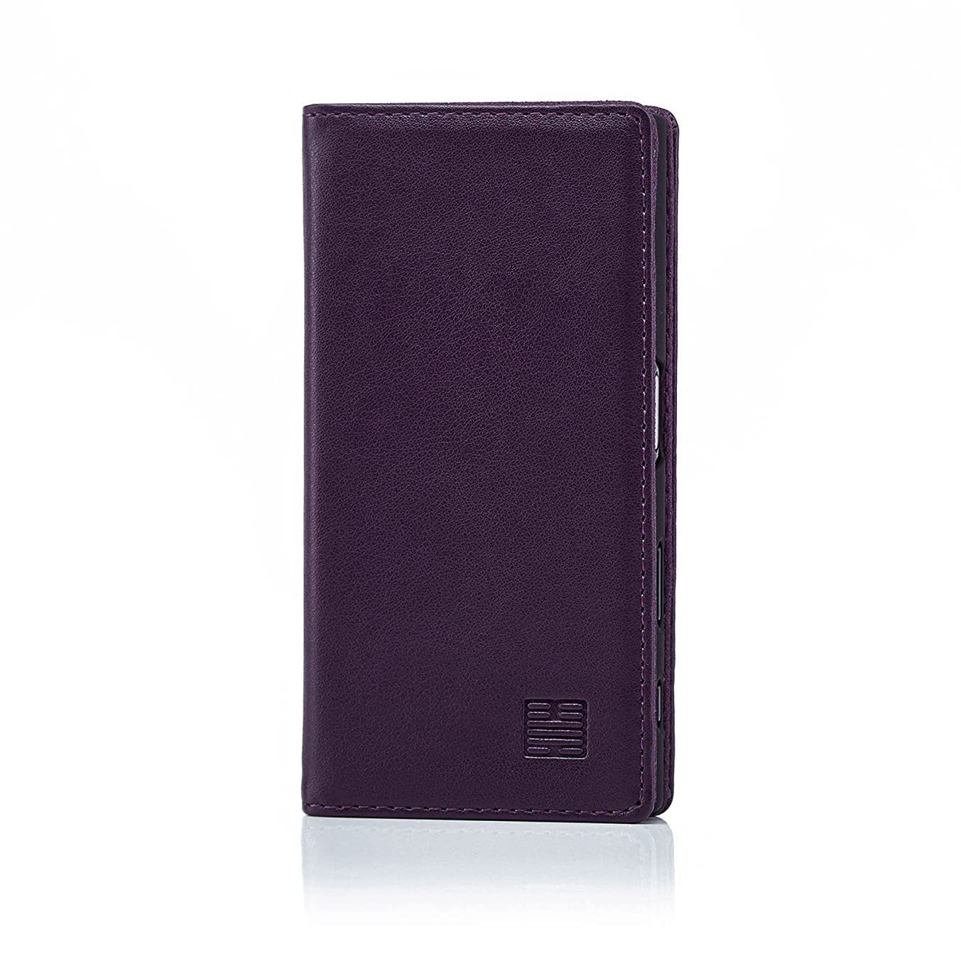 32nd Classic Series - Real Leather Book Wallet Case Cover for Sony Xperia X Compact, Real Leather Design with Card Slot, Magnetic Closure and Built in Stand - Aubergine