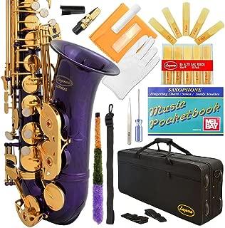 Lazarro 360-PR E-Flat Eb Alto Saxophone Purple-Gold Keys with Case, 11 Reeds, Care Kit and Many Extras