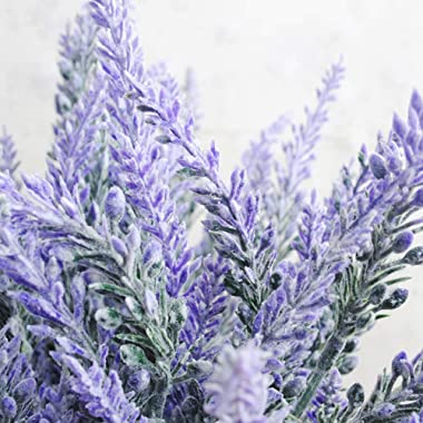 KLEMOO Artificial Lavender Flowers 4 Pieces for Wedding Decor and Table Centerpieces, Lifelike Fake Plant Bouquet to Brighten