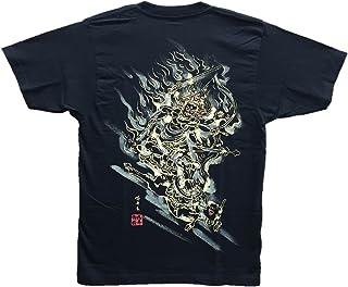 大威徳明王 Tシャツ 白黒 半袖 和柄 仏画 日本画 手描き 墨絵 伯舟庵