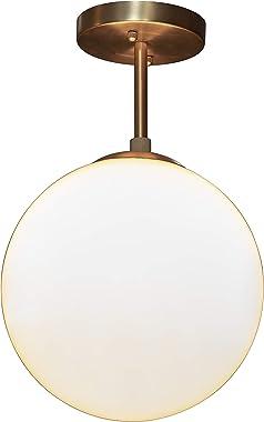Décor Therapy CH1911 Michael Milk Glass 1 Semi Flush Mount Ceiling Light, Antique Brass